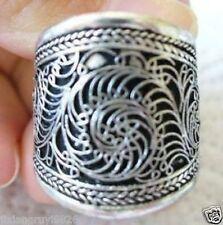 Nepal/Tibetan Tibet Silver Flower Mantra Thumb Ring