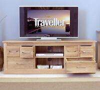 Solid Oak Widescreen Tv Dvd Cabinet Stand Furniture