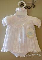 Will'beth All White Knit Ribbon Dress 3pc Set Preemie Headband & Bloomers
