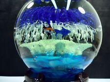 "6"" Big Glass Ball Paperweight Murano Art Glass Dolphin Hand Blown Fish Bubble #d"