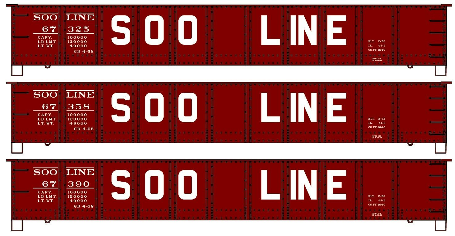 Accurail  HO-Scale  SOO LINE 41' Gondola Car KITS  3 car set /3 car  's  NIB