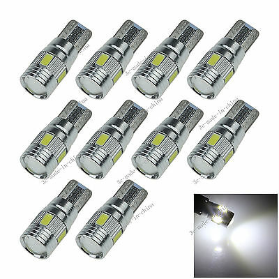 10X White 6 LED 5630 T10 W5W Lens Canbus Error Free Light Car Bulb Lamp 12V A130