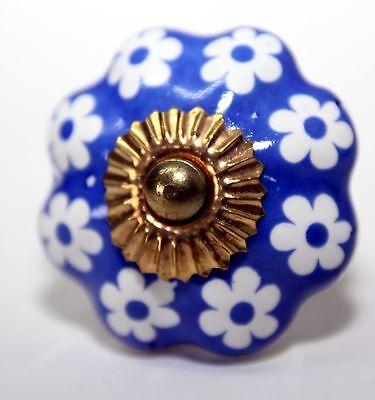 Möbelknopf,Keramik-Möbelgriff,Knauf,Knopf Möbelknäufe Indien Blau-Weiß,  2.WAHL