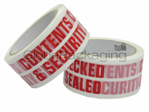 2 Rolls Of CONTENTS CHECKED Printed Packing Tape 48x66m
