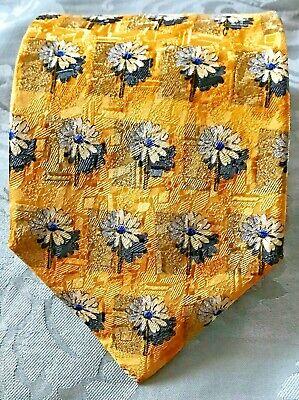 5ea373a3 Ermenegildo Zegna Tie * Yellow Gold with Silver/White Floral Design * 100%  Silk | eBay