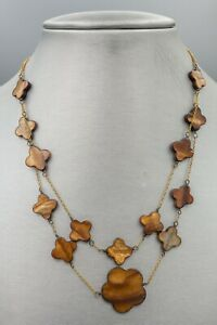 Double Stranded Necklace Light Brown Graduated