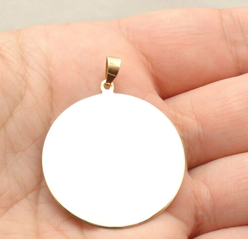 """32mm 1 1//4/"""" ENGRAVABLE REVERSIBLE DISC CHARM PENDANT REAL SOLID 14K YELLOW GOLD"""