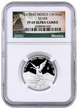 2011-Mo Mexico 1/4 oz Proof Silver Libertad Onza NGC PF69 UC Excl Label SKU42317