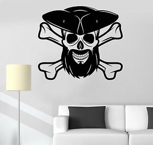 Details about Vinyl Wall Decal Pirate Skull with Beard Boy Room Decorating  Stickers (293ig)