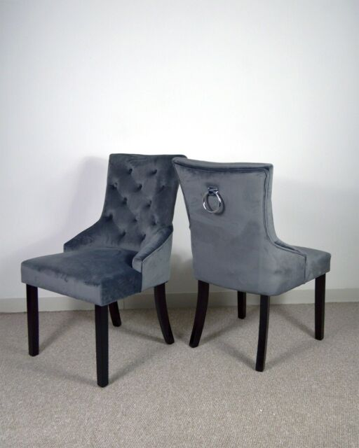 Pair Grey Velvet Button Effect Dining Room Chairs Silver Knocker Back Ring