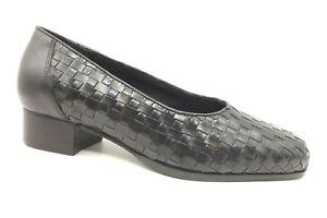 drew black woven leather dress casual slip on block heel