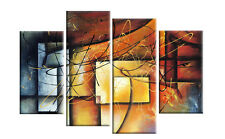 "LARGE ABSTRACT PAINTING SPLIT CANVAS PICTURE MULTI 4 PANEL WALL ART 40"" rdy2hang"