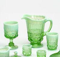 Mosser Glass Eye Winker Pattern Green Or Vaseline Pitcher And Glassware Sets