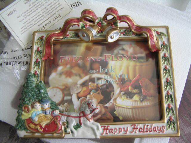 fitz floyd picture frame 5x7 woodland christmas holiday happening