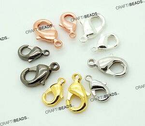Silver Gold Rose Copper Gunmetal Lobster Claw Clasp Plated 6x10mm 7x12mm 8x13mm