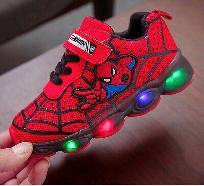 Man scarpe con luci e strappo bambino Spider