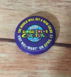 Vintage M&M Global color April 13 2002 Walmart button pin, badge