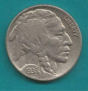 5 Cent Nickel Münze Usa 1936 Indianer Büffel In Sehr Schöner