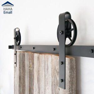Image Is Loading Vintage Industrial Wheel Sliding Barn Wood Door Hardware