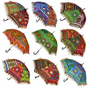 Vintage-Decorative-Indian-Embroidered-Parasol-Sun-Shade-Umbrella-Wholesale-Lot