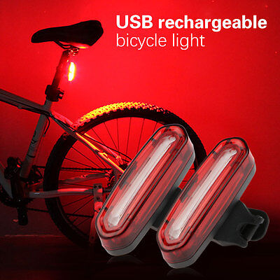 1Set USB Rechargeable COB LED Bicycle Cycling Front Rear Tail Light Lamp 4 Modes