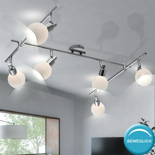 LED Decken Lampe Chrom Strahler verstellbar Gäste Zimmer Glas Spot Flur Leuchte