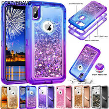 360° Liquid Glitter Bling Heavy Duty Case For iPhone Xs XR Xs Max 6 6S 7 8 Plus