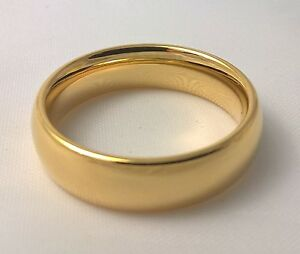 G-Filled-Men-039-s-18k-yellow-gold-wedding-band-6mm-ring-comfort-USA-size-14-AUS-Z-3