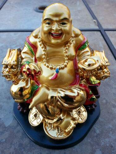 China Happy Buddha sitting On Dragon chair Statue 5.5H