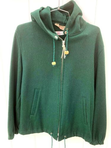 Vtg 50s Peters Whaler Green Wool Hoodie Heavy Duty
