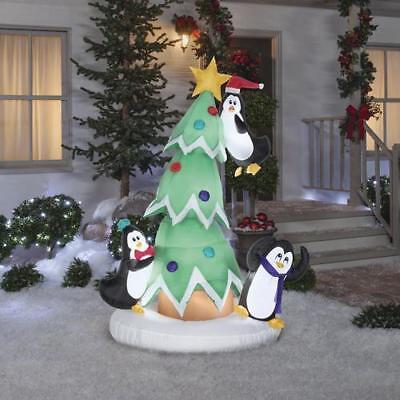 Christmas Tree Inflatable.6 Animated Penguins And Christmas Tree Inflatable Very Cute On Sale Last Day Ebay
