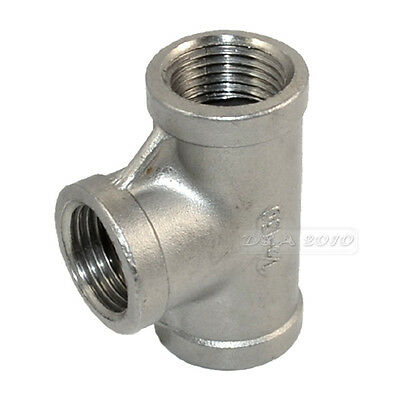 "1/2"" Tee 3 way Female Stainless Steel 304 Threaded Pipe Fitting BSP NEW"
