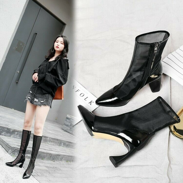 Women Ladies New Fashion Pointed Toe Mesh Breathable High Heel Boots shoes QOQA