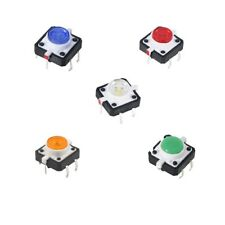 50pcs 12x12x7mm Led Momentary Tactile Tact Push Button Switch With Round Cap