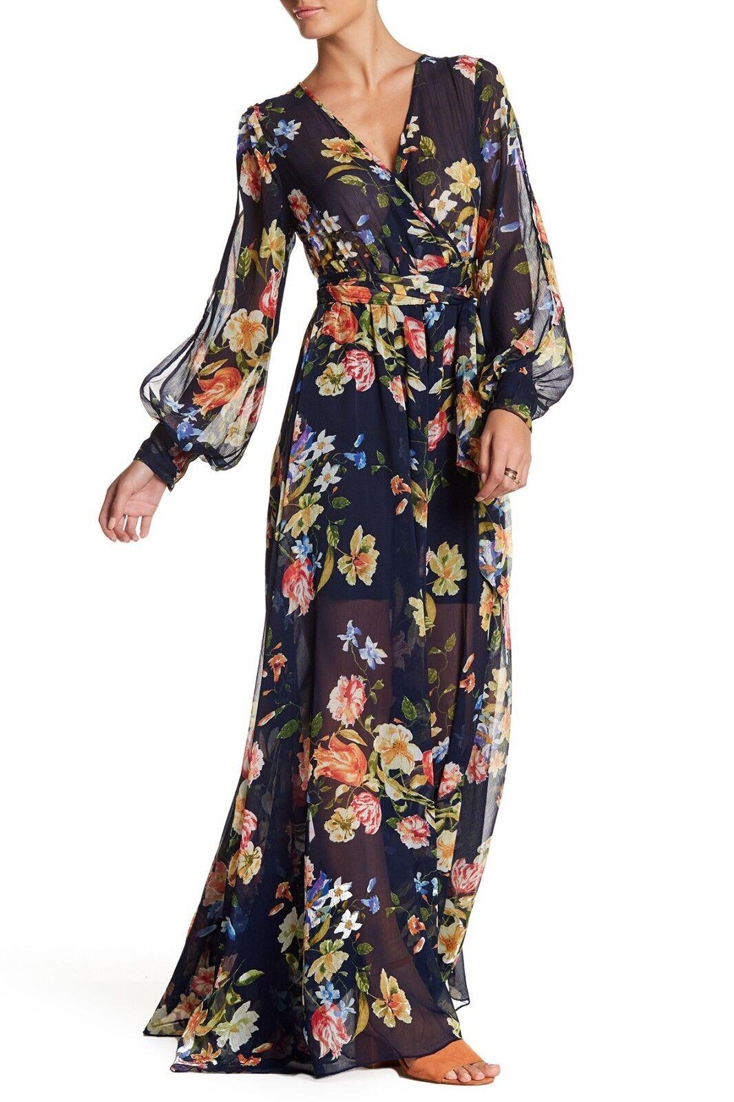 348 New Meghan LA Mon Cherie Wrap Maxi Dress Floral Navy Peach Size Medium M