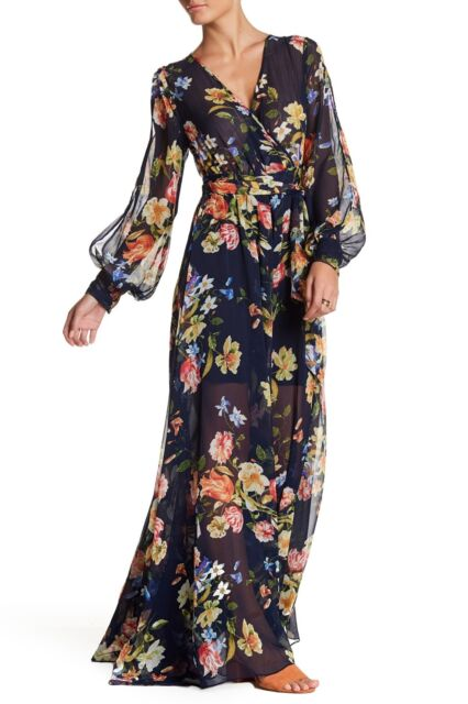 255006d0a593 $348 New Meghan LA Mon Cherie Wrap Maxi Dress Floral Navy Peach Size Large L