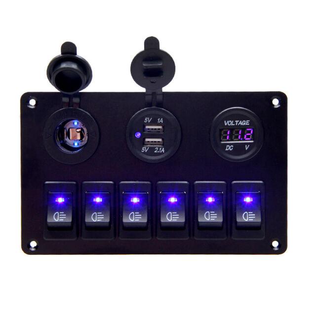 6 Gang Wasserdichte Schaltung LED Rocker Marine Schalter Panel Breaker Boot