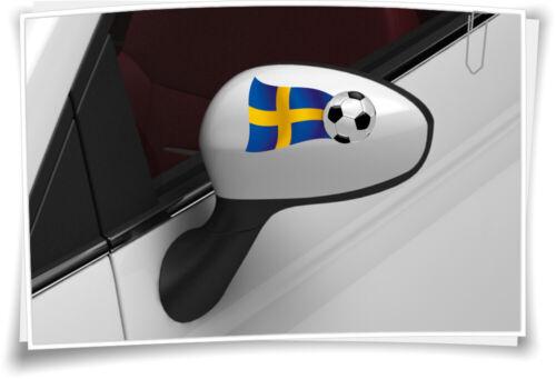 2x Schweden Flagge Autoaufkleber Fußball Aufkleber Sport EM WM Spiegelkappen Car