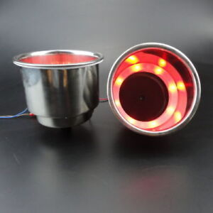 Perfect 2X Red LED Stainless Steel Cup Drink Holder Marine Boat Car Truck Camper