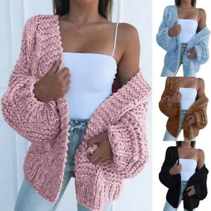 Casual-Ladies-Puff-Sleeve-Women-Coat-Knitted-Sweater-Front-Open-Cardigan