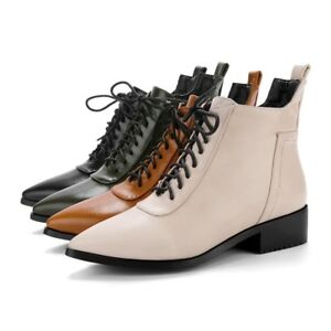 Women  039 s Leather Martin Ankle Boots Low Heel Shoes Lace Up ... fe2dabf26d14
