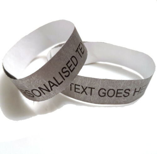 50 Silver 19mm Personalised Tyvek Wristband Entry Party Custom Ticket Entrance