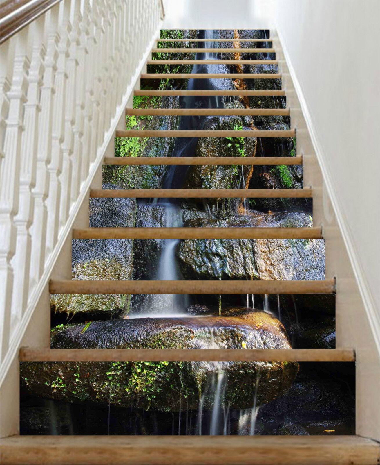 3D Stein Wassers 34 Stair Risers Dekoration Fototapete Vinyl Aufkleber Tapete DE