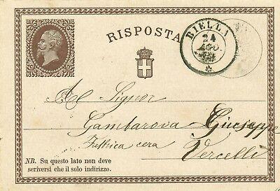 1374-piemonte, Biella, Doppio Cerchio Per La Fabbrica Di Cera Di Vercelli, 1874 Aangenaam Voor Het Gehemelte