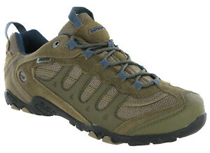 552e7321220 Details about Hi-tec Penrith Low Waterproof Walking Hiking Trainers Brown /  Majolica Blue Mens