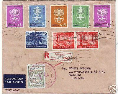 1962 LOVELY REGISTERED AIRMAIL INDONESIA TO FINLAND