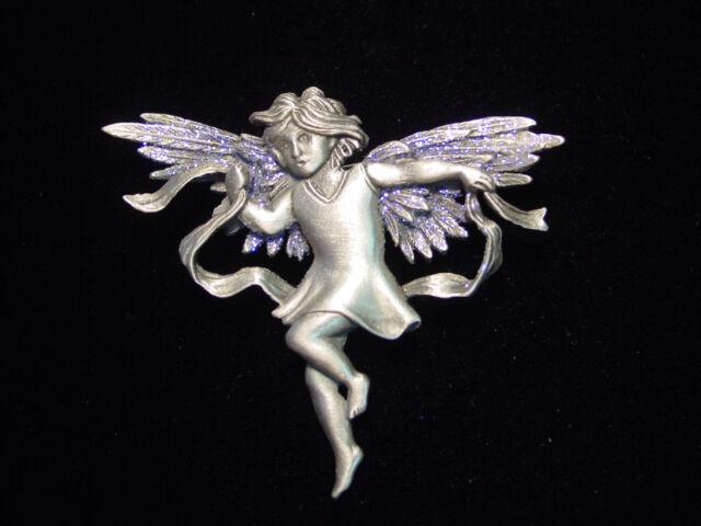 """SALE ~ """"JJ"""" Jonette Jewelry Silver Pewter PURPLE Sparkling Winged FAIRY Pin"""