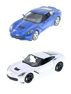 MAISTO-1-24-DISPLAY-2014-CHEVY-CORVETTE-C7-Diecast-Car-Model-WHITE-or-BLUE