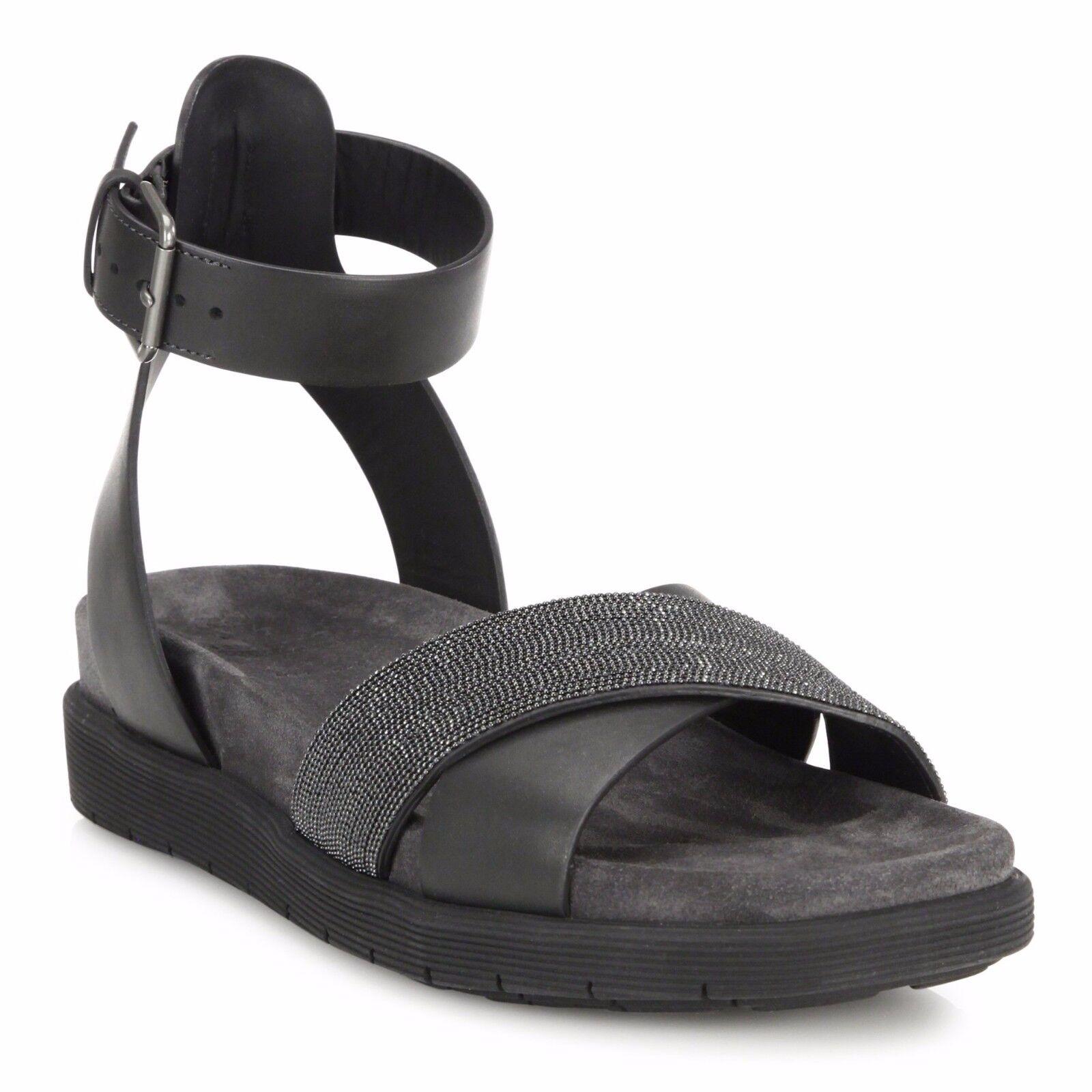 NEW  1395 Brunello Cucinelli Ankle Wrap Monili Crisscross Leather Sandal 37.5