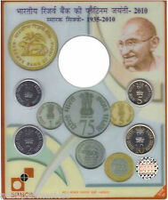 INDIA 2010 UNC RBI SET 1,2,5,&10 RUPEES I.G MINT MUMBAI WITHOUT 75 RUPEES COIN